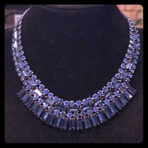 """Gorgeous dark blue 14"""" rhinestone necklace"""